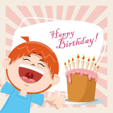 happy birthday celebration party smiling boy with sweet cake and candles vector illustration