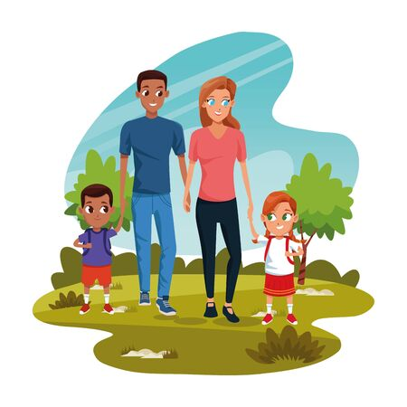 Cartoon man and woman with kids in the park over white background, colorful design, vector illustration