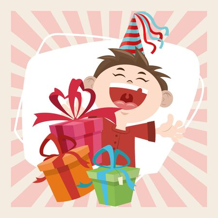happy birthday celebration funny boy with party hat and gifts vector illustration