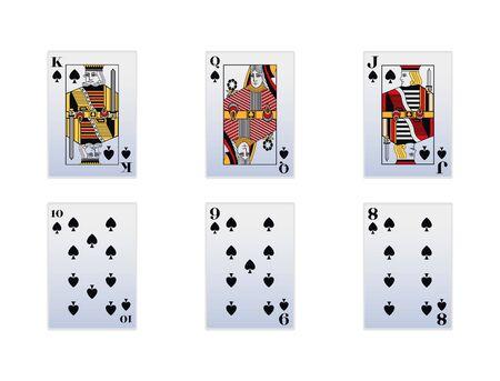Spade cards icon set over white background, vector illustration Çizim