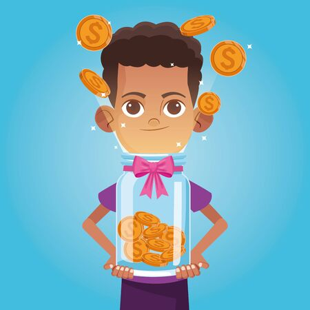 Kid donation charity cartoon boy with coins bottle vector illustration graphic design