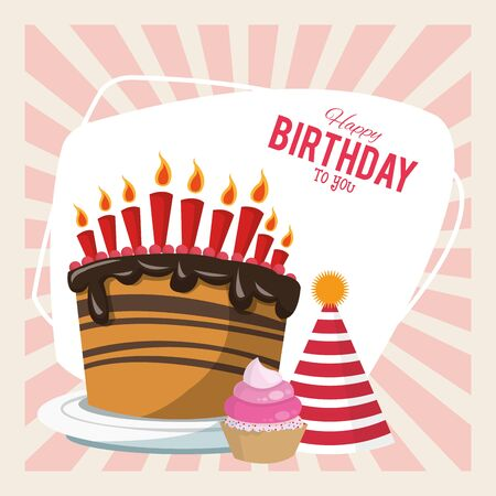 happy birthday celebration party sweet cake hat and cupcake vector illustration