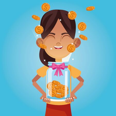 Kid donation and charity girl with coins bottle cartoon vector illustration graphic design