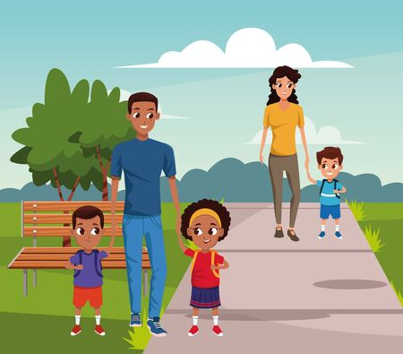 Happy man with kids and woman with her son walking over landscape background, colorful design, vector illustration