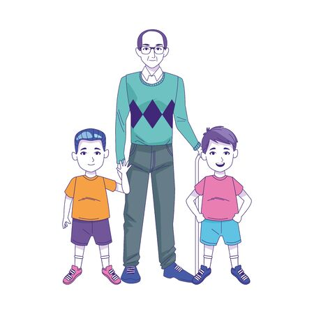 old man with little boys icon over white background, vector illustration