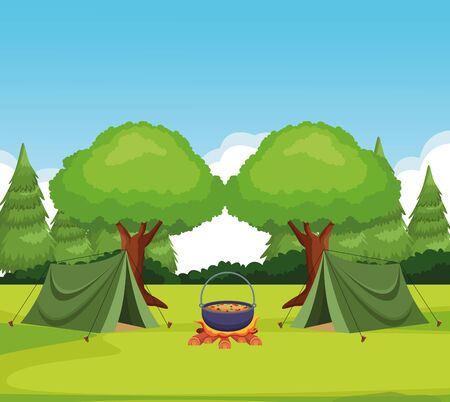 camping in the forest with tents and bonfire with pot with food, colorful design , vector illustration