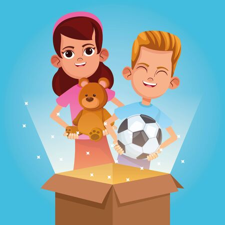 Kids donation in box and charity cartoon blue background vector illustration graphic design