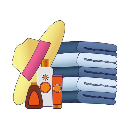 beach hat and sunblock bottles and towels over white background, vector illustration