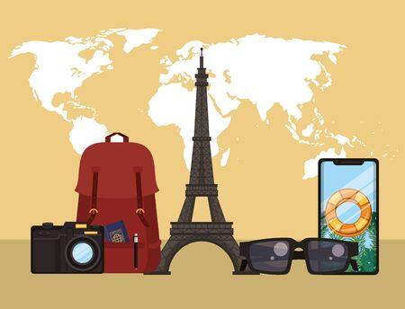 world travel scene with eiffel tower vector illustration design Иллюстрация