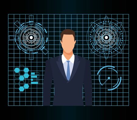 artificial intelligence technology man and virtual reality vector illustration Illustration