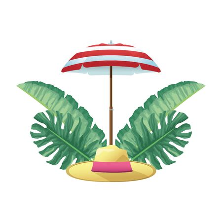 parasol with beach hat and tropical leaves icon over white background, colorful design, vector illustration 向量圖像