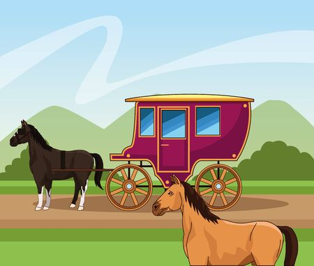 Western town design with horses carriage over landscape background, colorful design, vector illustration 向量圖像