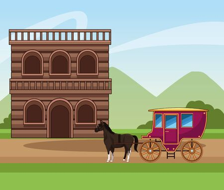 Western town design with horses classic carriage and wooden building over landscape background, colorful design, vector illustration