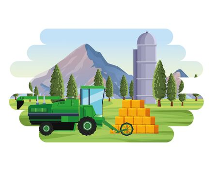 farming agriculture combiner hay bales silo and trees landscape vector illustration