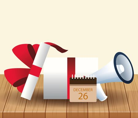 Gift box, calendar and megaphone over wooden and white background, colorful design, vector illustration