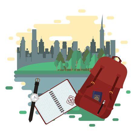 world travel scene with handbag and icons vector illustration design  イラスト・ベクター素材