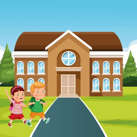 school building and happy kids, colorful design , vector illustration