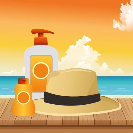 summer time in beach vacations hat bottle skin care sunblock on wooden sea vector illustration Archivio Fotografico - 137923146