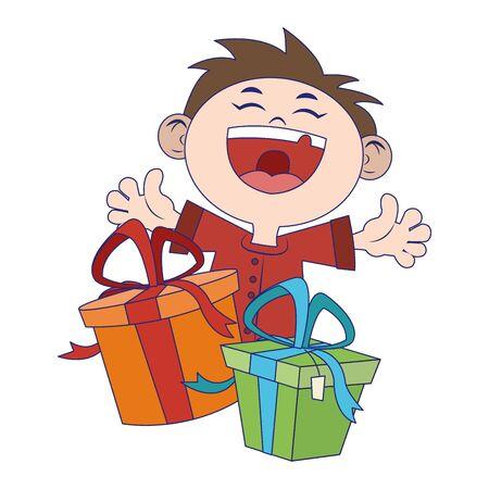 cartoon happy boy with gift boxes icon over white background, colorful design, vector illustration Illusztráció