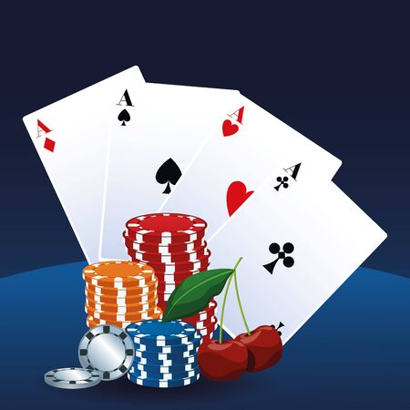 aces cards chips and cherry betting game gambling casino vector illustration
