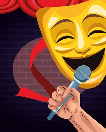 hand with microphone and comedy theater mask stand up comedy show vector illustration