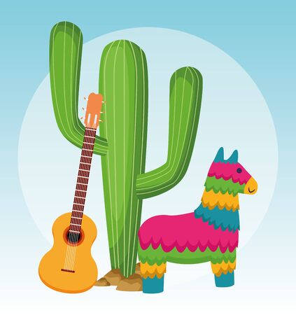 Mexican cactus pinata and guitar design, Mexico culture tourism landmark latin and party theme Vector illustration Çizim