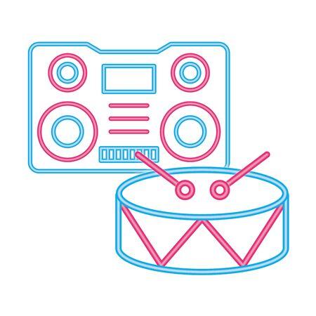 radio music player with drum instrument vector illustration design