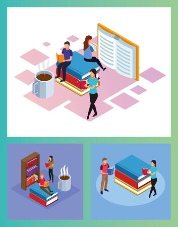 bundle of mini people reading electronics books scenes vector illustration design