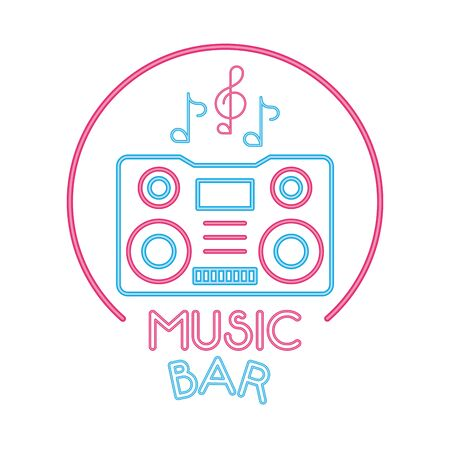 radio music player with lettering bar vector illustration design