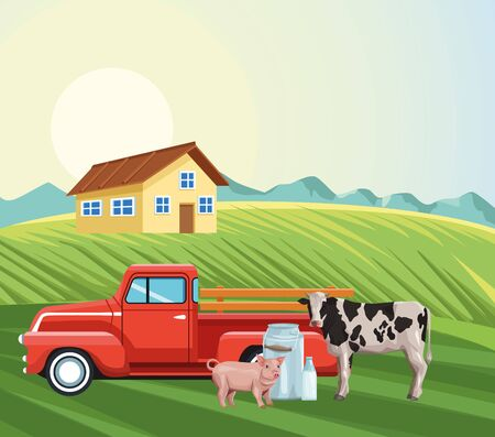 farming house pickup tractor cow pig milk canister field landscape vector illustration