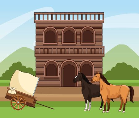 Western town design with wooden building, horses and carriage over landscape background, colorful design, vector illustration