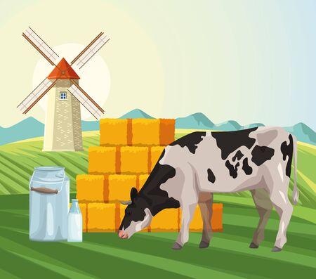 farming cow eating grass hay bales and windmill field vector illustration Ilustração