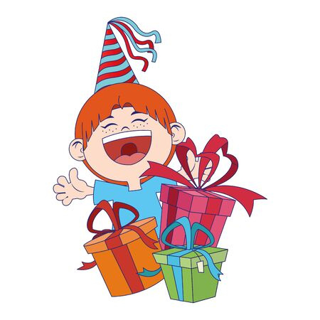 cartoon happy boy with birthday gifts boxes over white background, vector illustration