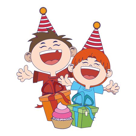 cartoon happy boys with birthday gifts boxes icon over white background, vector illustration Illusztráció
