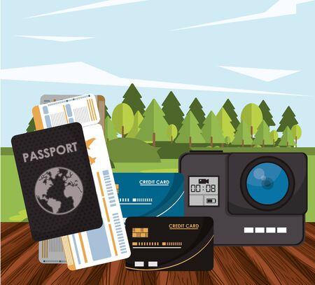 world travel scene with set icons in the landscape vector illustration design  イラスト・ベクター素材