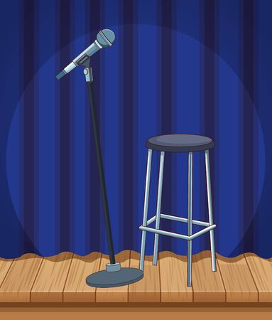microphone stool curtain stage stand up comedy show vector illustration