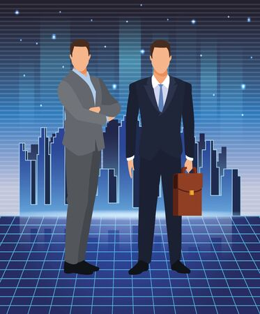 artificial intelligence technology businessmen with suitcase futuristic vector illustration 向量圖像