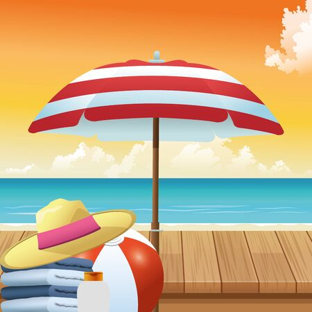 summer time in beach vacations umbrella hat ball towels and sunblock vector illustration