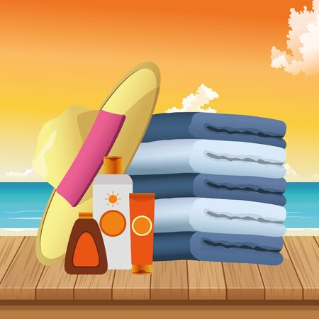 summer time in beach vacations pile towels hat and sunblock bottles on wooden vector illustration
