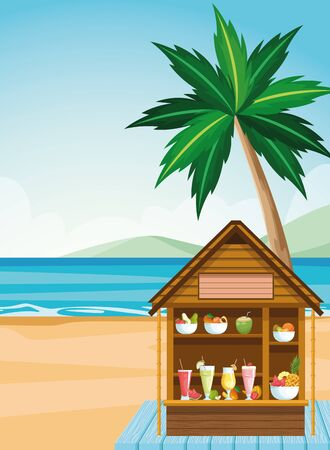 house with tropical fruits and juices at the beach, colorful design , vector illustration Иллюстрация