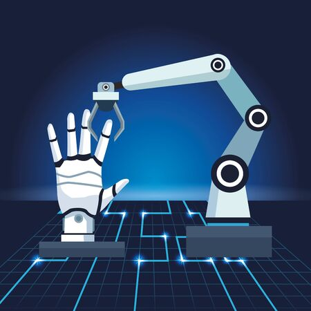artificial intelligence technology robotic arm with android hand vector illustration Vector Illustration