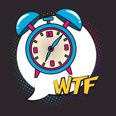 poster pop art style with alarm clock vector illustration design