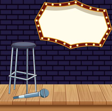 stool microphone billboard stage stand up comedy show vector illustration