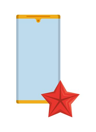 smartphone with quality star commercial isolated icon vector illustration design