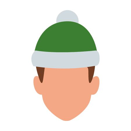 avatar boy with christmas hat icon over white background, colorful design. vector illustration