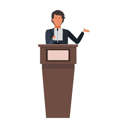 cartoon businessman Standing Behind A Podium over white background, colorful design. vector illustration