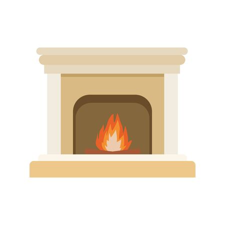 chimney with fire icon over white background, colorful design. vector illustration