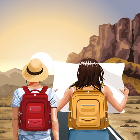 traveler man and woman with backpacks over western landscape background, colorful design, vector illustration