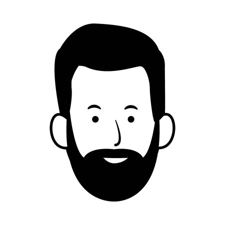 adult man with beard icon over white background, vector illustration