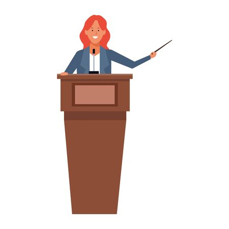 cartoon Woman Standing Behind A Podium over white background, colorful design. vector illustration